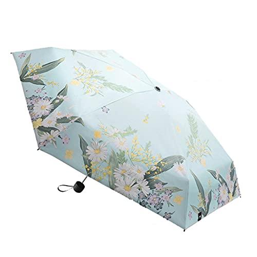 HOTRA Protección solar y protección UV paraguas de viaje patrón de flores para damas, marco reforzado a prueba de viento, impermeable, fuerte, compacto y plegable (color: flores)