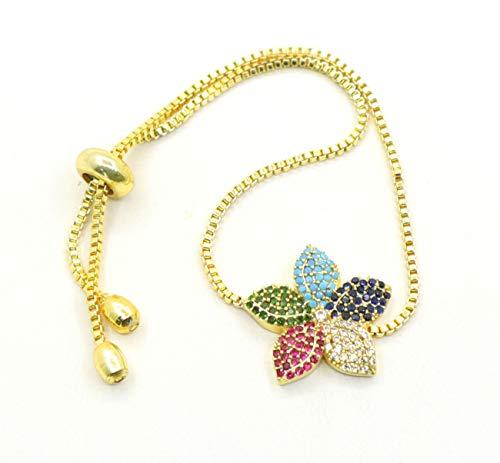 Armband für Damen Mit Zirkonia Stein, 20mm Bunte Blume, Perlenarmband, Armkette, Armreif Schutz mit Strasssteinen (Gold)