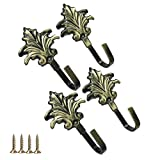 4 Pcs Cast Iron Decorative Wall Hooks for Drapes Drapery - Christmas Tree Shape Coat Hooks - Hooks Wall Mounted for Key, Towel, Luggage , Bags, Cup, Hat Indoor and Outdoor