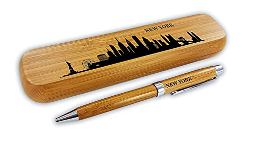 Kugelschreiber-Set Bambus'Skyline New York'