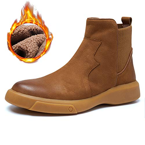 ZJHTK Hombres Martin Botas al Aire Libre Comodos Casual Senderismo Cuero de Moda Calzado de Seguridad Zapatos para Caminar,Brown Plus Velvet,39