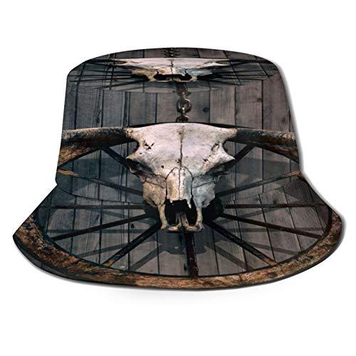 Sombrero de pesca,Rueda de carro de madera de granero cráneo de toro de cuernos largos y rueda de carro del viejo,Senderismo para hombres y mujeres al aire libre sombrero de cubo sombrero para el sol