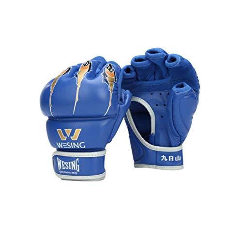 CHENTAOCS Halbfinger-Boxhandschuhe, Adult Sanda, Kampfsporthandschuhe, MMA-Handschuhe, Taekwondo-Sandsäcke, Sandsackhandschuhe, UFC-Fingerhandschuhe, PU-Rot (EIN Paar) (Color : Blue, Design : 7oz)