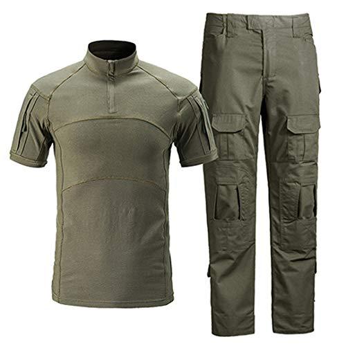 Männer Militärkleidung Sommer Taktische Uniformen Tarnung T-Shirts Paintball Cargo Pants Set Jagd Stoff Kampfanzug Green M