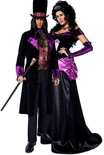 Coppia donna e uomo gotico Conte e contessa vampiro Vamp Vampiress lunghezza piena di Halloween costumi in maschera