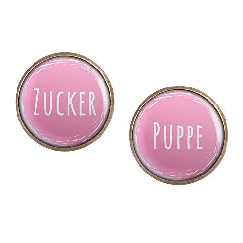 Mylery Ohrstecker Paar mit Motiv Zucker-Puppe Pink Weiß Links Rechts Unterschiedlich bronze 16mm
