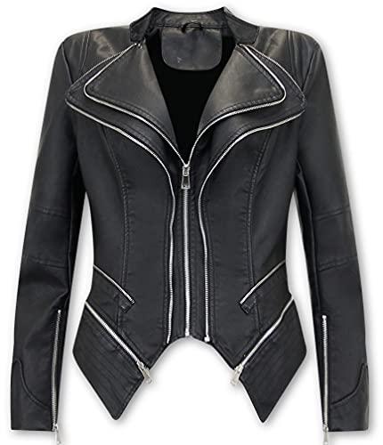 Bludeise Chaqueta De Cuero Biker Mujer - AY152 - Negro