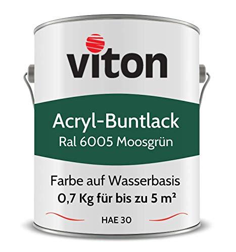 Buntlack von Viton - 0,7 Kg Grün - Seidenmatt - Wetterfest für Außen und Innen - 2in1 Grundierung & Lack - HAE 30 - Nachhaltige Farbe auf Wasserbasis für Holz, Metall & Stein - RAL 6005 Moosgrün