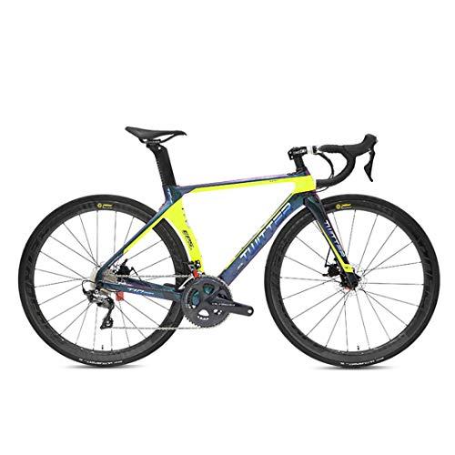 Carbon Rennrad 700C Carbon Rennräder Fahrrad mit Shimano UT/R8000-22 Speed Schaltgruppe 700C Reifen,Gelb,52cm