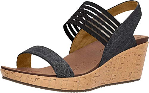 Skechers Beverlee Smitten Kitten Womens Wedge Heel Sandals 4 UK/37 EU Negro