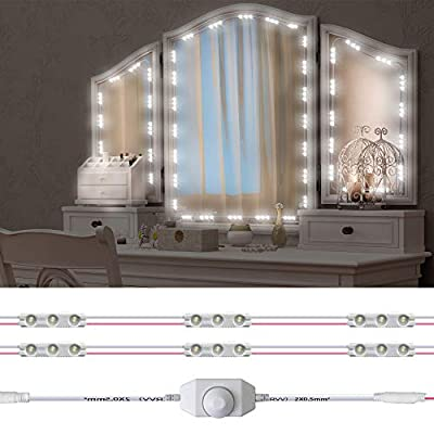 Led Vanity Mirror Lights Kit, Hollywood Style 60 LED Vanity Make Up Light, 10ft Dimmable Brightness Lighting Fixture Strip for Mirror Vanity Table, with Dimmer and Power Supply, Mirror Not Included