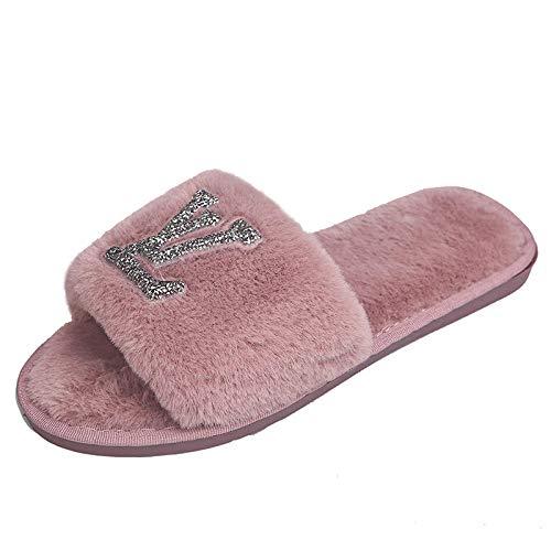 HUSHUI Comfy Warm Womens Slippers,Home non-slip warm slippers, bright diamond flat cotton dragon-Pink_4.5-5,Faux Fur Open Toe Memory Foam House Slipper