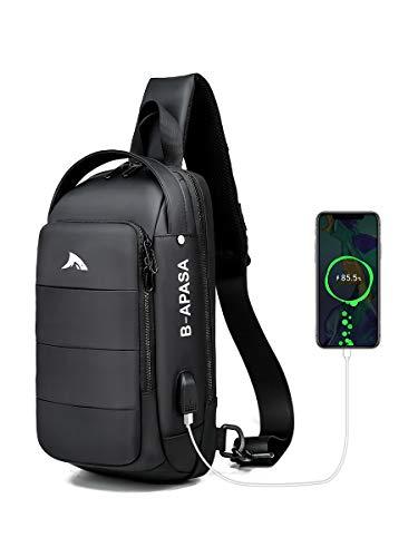 Brusttasche Sling Bag Umhängetaschen Sling Rucksack Crossbody Bag Backpack Schultertasche Herren für Hiking Sports Backpack Casual Daypack mit USB Ladeanschluss (Black)