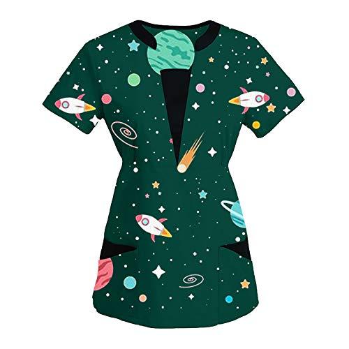 2021 Nuevo Camiseta de Manga Corta con Estampado de Dibujos Animados para s con Cuello en V para Uniformes Ropa de Trabajo
