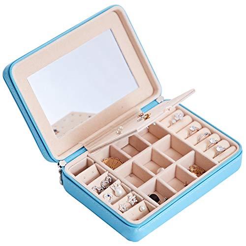 Wakerda Schmuckkästchen Schmuckkoffer Damen Reise Ohrring-Aufbewahrungsbox PU-Leder für Armbänder, Uhren und Halsketten mit Sichtfenster, Himmelblau