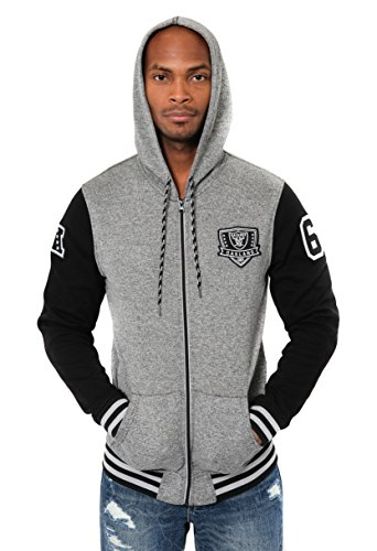 Ultra Game ICER Brands NFL Herren Fleece-Kapuzenpullover Letterman Varsity Jacket, Teamfarbe, Herren, Full Zip Fleece Hoodie Letterman Varsity Jacket, Team Color, schwarz, Medium