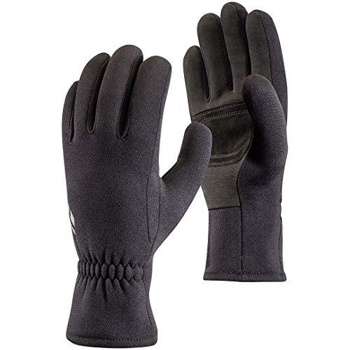 Black Diamond Gants MidWeight ScreenTap - Gants tactiles en polaire stretch - Avec paume en cuir suédé - Idéaux comme sous-gants / Unisexe, noir, taille M