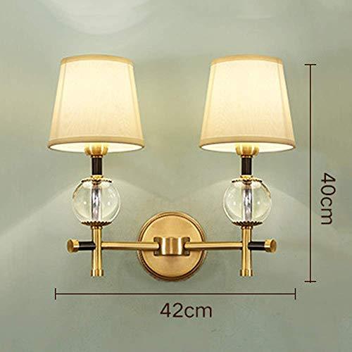Mkjbd wandlamp tuinlamp wandlamp wandlamp wandlamp American stijl zuiver koper wandlampen dubbele kop glas vloerlampen eenvoudige lampen
