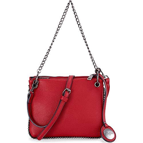Buffalo Umhängetasche für Damen HELLEN, Frauen Handtasche,22x2x17cm,Red(Rot)