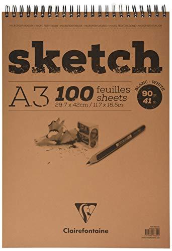 Clairefontaine 96602C Skizzenblock Sketch (100 Blatt, DIN A3, 29,7 x 42 cm, Spiral, mikroperforiert, 90 g) weiß