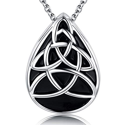 Celtic Knot Urn Memorial Necklace Trinity Irish Pendant Cremation Teardrop Cremain Ashes Sterling Silver Keepsake Holder Jewelry for Women Gifts