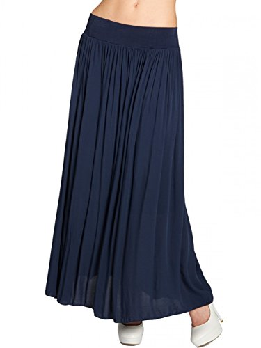 Caspar RO012 Leichter Langer Damen Sommerrock, Farbe:dunkelblau, Größe:One Size