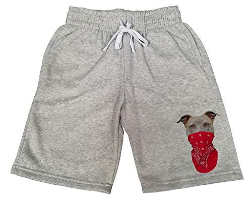 Men's Red Bandana Pitbull Face B655 Gray Fleece Jogger Sweatpants Gym Shorts 2X-Large