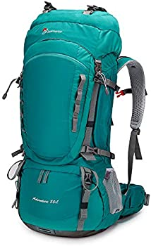 MOUNTAINTOP 55L/80L Hiking Backpack with Rain Cover (80l-lakegreen)