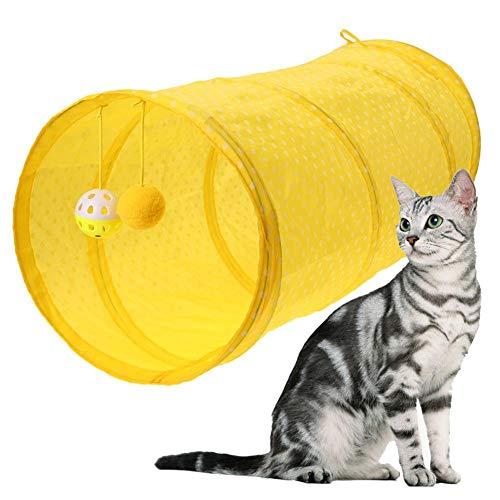 Tunnel Tube Cat Tunnel Cat Canal Cat Toy Color Cat Tunnel Cat Tunnel Polka Dot Piso Dragón Drop Ball Ball Ocultar Buscar Ejercicio Educativo para Gatos Yellow