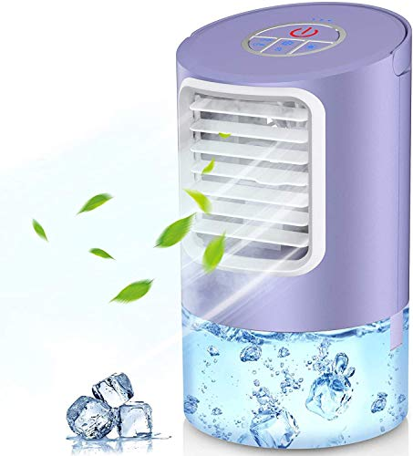 Personal Evaporative Air Cooler, Humidifier Portable Mini Space Air Conditioners Desk Fan with 3 Wind Speeds for Room Office Home Travel, Purple By Page Hodge (Purple)