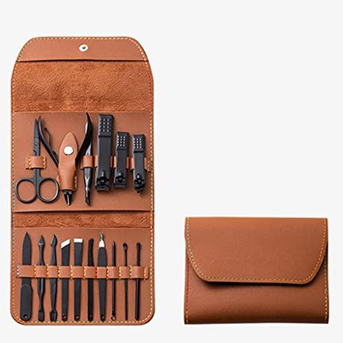 WYFC Set de manicura 16 Funda de Cuero Herramientas de Acero Inoxidable Nail Professional Cutícula y Kit de Cuidado de uñas for Mujer Hombre portátil for Viajar (Color : Brown)
