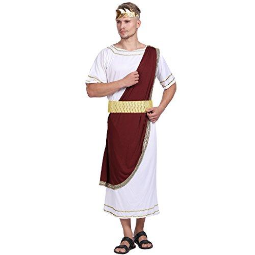 EraSpooky Uomo Augustus Costume Romano Giulio Cesare Vestito Adulto Toga Vestaglia