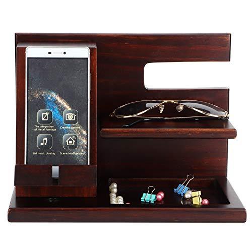 Zerodis Holz Telefon Dockingstation,Brieftasche Uhrenhalter, Bambus Holz Telefon Dockingstation Schlüsselhalter Brieftasche Uhrenständer Organizer Polierte Oberfläche für Männer Geburtstagsgeschenk
