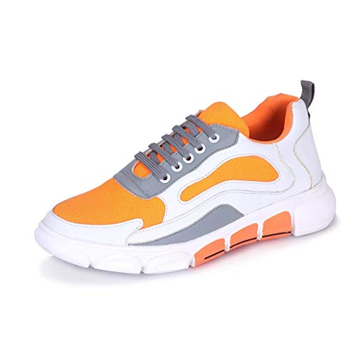 EARLY FASHION Men's White Yellow Mesh Lace up Sport Shoe 6 UK