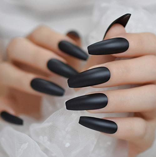 JSIYU Faux ongles Nails Extra Long Matte Press sur Ballerina False Nails Frosted Fake Fingers Party nails, F96 C