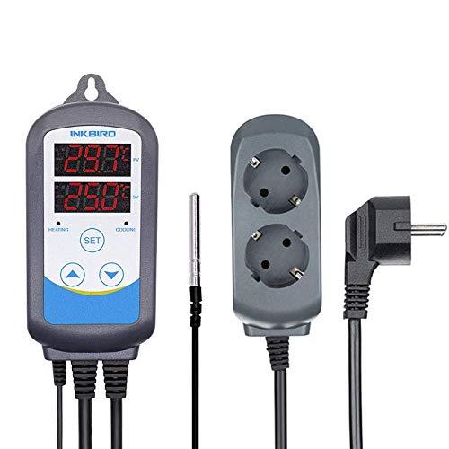 Inkbird ITC-310T-B Termostato Digital Double Relés Control Calefacción y Refrigeración con Sonda 220v, 12 Períodos de Tiempo Control Diferente Temperatura y Alarma Dispositivos para Cerveza Artesanal