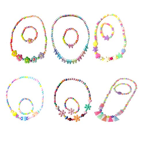 Amasawa 6 Sets Children's Necklace and Bracelet Set,Children Girls Candy Colors Flowers Shap,for Kids Girls Dress Up Jewellery Party Favors