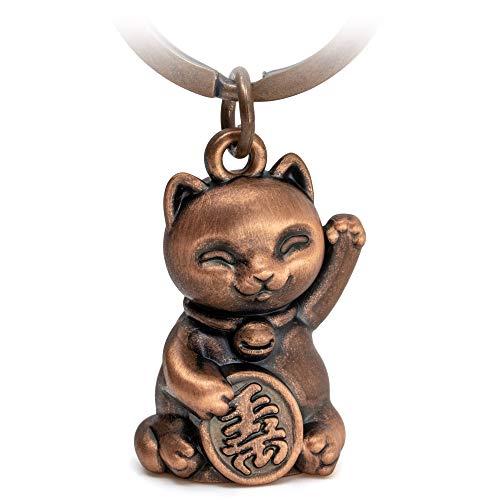 FABACH Llavero de gato de la suerte de Maneki Neko, con colgante de metal