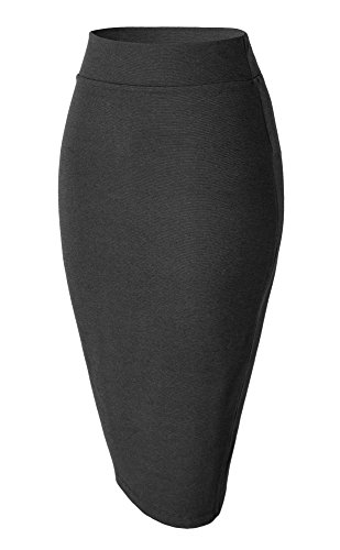 Damen Midi Rock Stretch Figurbetont Business Bleistift Röcke (XL, Heather Grey)