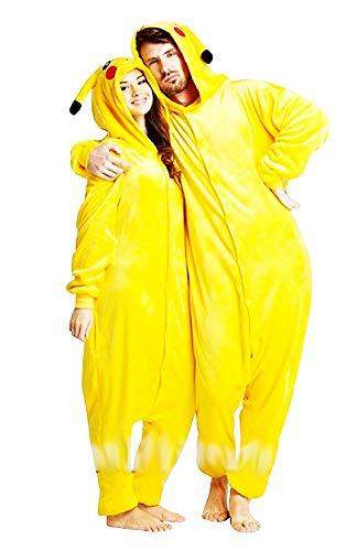 Costume Pikachu Donna - Uomo - Pigiama - Travestimento - Carnevale - Halloween - Pokemon - Colore Giallo - Adulti - Unisex - Ragazzi - Taglia S - Idea Regalo Natale e Compleanno