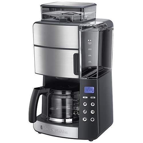Russell Hobbs Kaffeemaschine mit Mahlwerk, Glaskanne 10 Tassen, digitaler programmierbarer Timer, 3-stufige Mahlgradeinstellung, 1000W, Filterkaffeemaschine für Kaffeebohnen Grind&Brew 25610-56