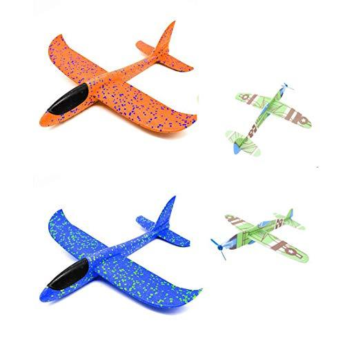 Aviones de Corcho, Planos de Espuma Naranja Planeadores de Espuma Azul Planos de Espuma de Juguete Color Aleatorio Planos de Juguete Desmontables Ligeros de Luz para Niños Niños Chicas 2 pcs