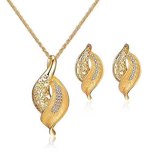 Kudiro Juego de joyas para mujer con doble hoja para collar y pendientes multicolor y colgante adecuado para madres, amigos, Zinc,