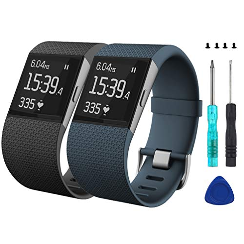 Wizvv Compatible Bands Replacement for Fitbit Surge, with Metal Buckle Fitness Wristband Strap Women Men Large Small (2 Pack)