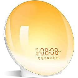 Sunrise Alarm Clock Wake Up Light with Dual Alarms, 7 Natural Sounds, Snooze, FM Radio, Sleep Aid, Night Light with 7 Colors, Reading Lamp, Sunrise Simulation for Heavy Sleepers Adults Kids Bedrooms