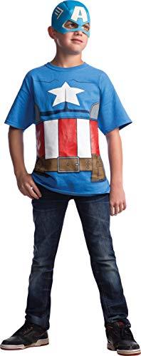 Rubie's Marvel Avengers Assemble Capitán América Disfraz Playera con máscara, Azul/Rojo/Blanco, Large