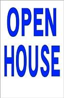 シンプル縦型看板 「OPEN HOUSE(青)」不動産 屋外可(約H45.5cmxW30cm)