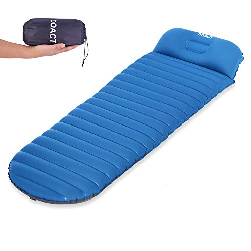 Queen.Y Inflatable Sleeping Pad Camping Air Mattress Outdoor Moisture Proof Mattress Inflatable Camping Air Mat With Pillow Navy Blue