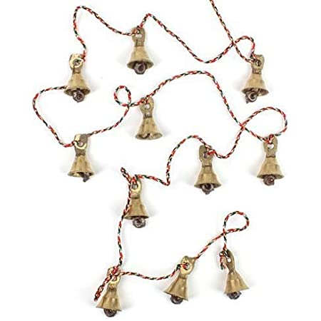 Yellow Purple Chimes Pink Folk Art Bells Garden Chimes Bells Gold Bells Metal Bells Little People Hanging String of Bells Red