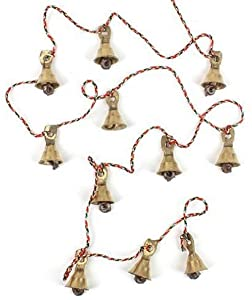 All 11 Bells are made of Brass metal (Made in India) approx height of string -- 100 cm The work provides a vital income for the poorer and less privileged women of the village and it is organised by a voluntary organisation with the approval of the v...